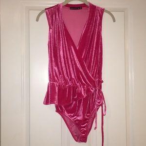Hot Pink Velvet Bodysuit